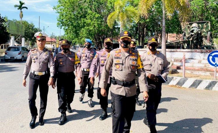 Bawa Pesan Sinergitas, Kapolres Belu dan Pejabat Utama Long March Menuju Kodim 1605 Belu dan Subden POM