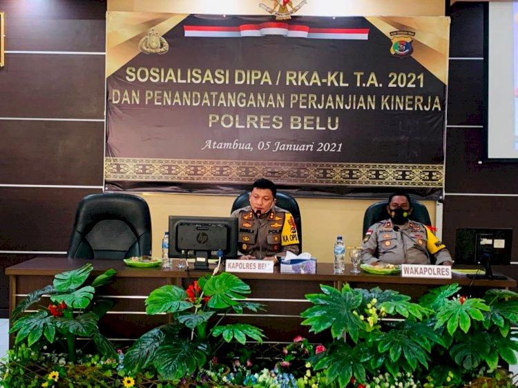 Polres Belu Gelar Sosialisasi DIPA/RKA-KL T.A 2021 dan Penandatanganan Perjanjian Kinerja