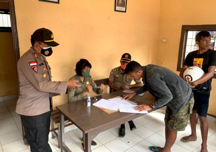 Operasi Yustisi, Anggota Polres Belu dan Sat Pol PP Tegur dan Catat Puluhan Pelanggaran Tidak Pakai Masker