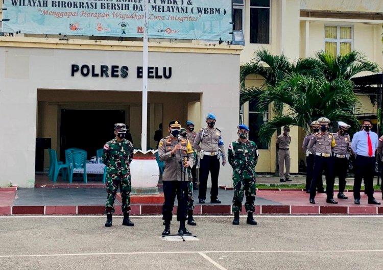 Mantapkan Sinergitas TNI Polri, Kapolres Belu bersama Dandim dan Danyon RK 744/SYB Pimpin Apel Bersama
