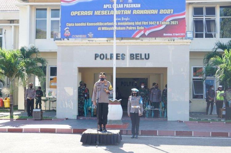 Kapolres Belu, AKBP Khairul Saleh Pimpin Apel Gelar Pasukan Ops Keselamatan Ranakah 2021