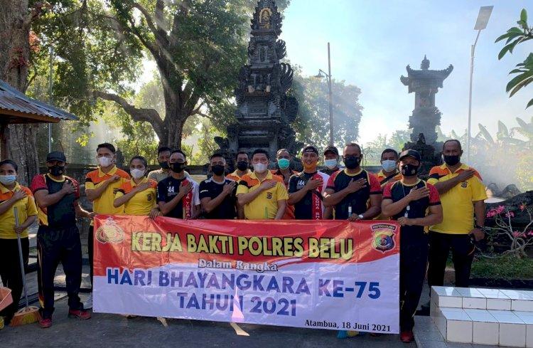 Hari Bhayangkara ke 75, TNI Polri di Belu Kompak Gelar Kerja Bakti di Tempat Ibadah, Tonton Videonya