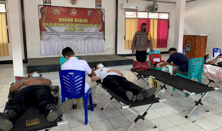 Hari Bhayangkara ke 75, Bupati Belu Bersama Kapolres dan Dandim Ikut Sumbang Darah untuk Sesama