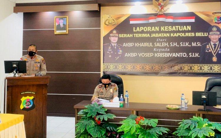 Pimpin Polres Belu, AKBP Yosep Krisbiyanto Minta Dukungan Seluruh Anggota dalam Pelaksanaan Tugas