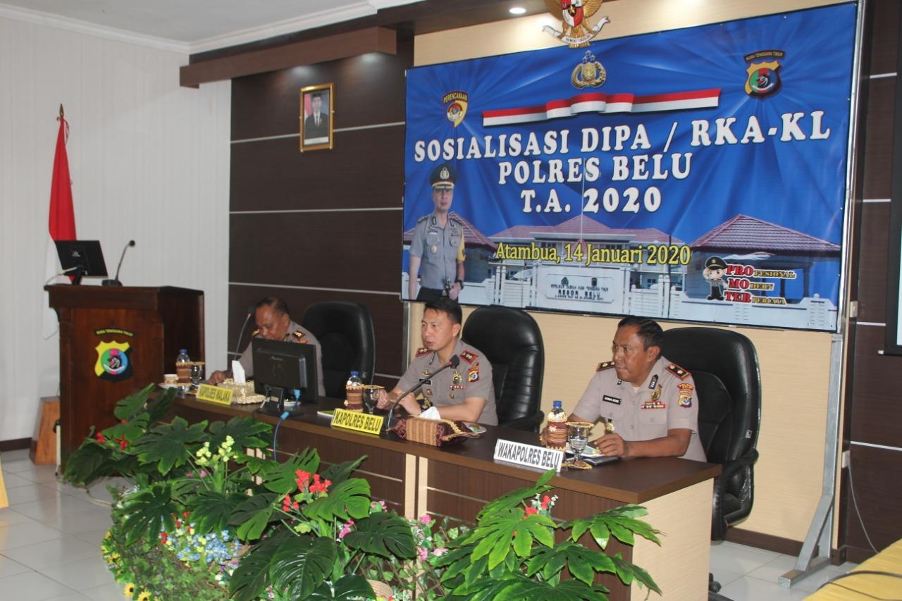 Undang Kapolres Malaka, Polres Belu Gelar Sosialisasi DIPA / RKA-KL T.A 2020