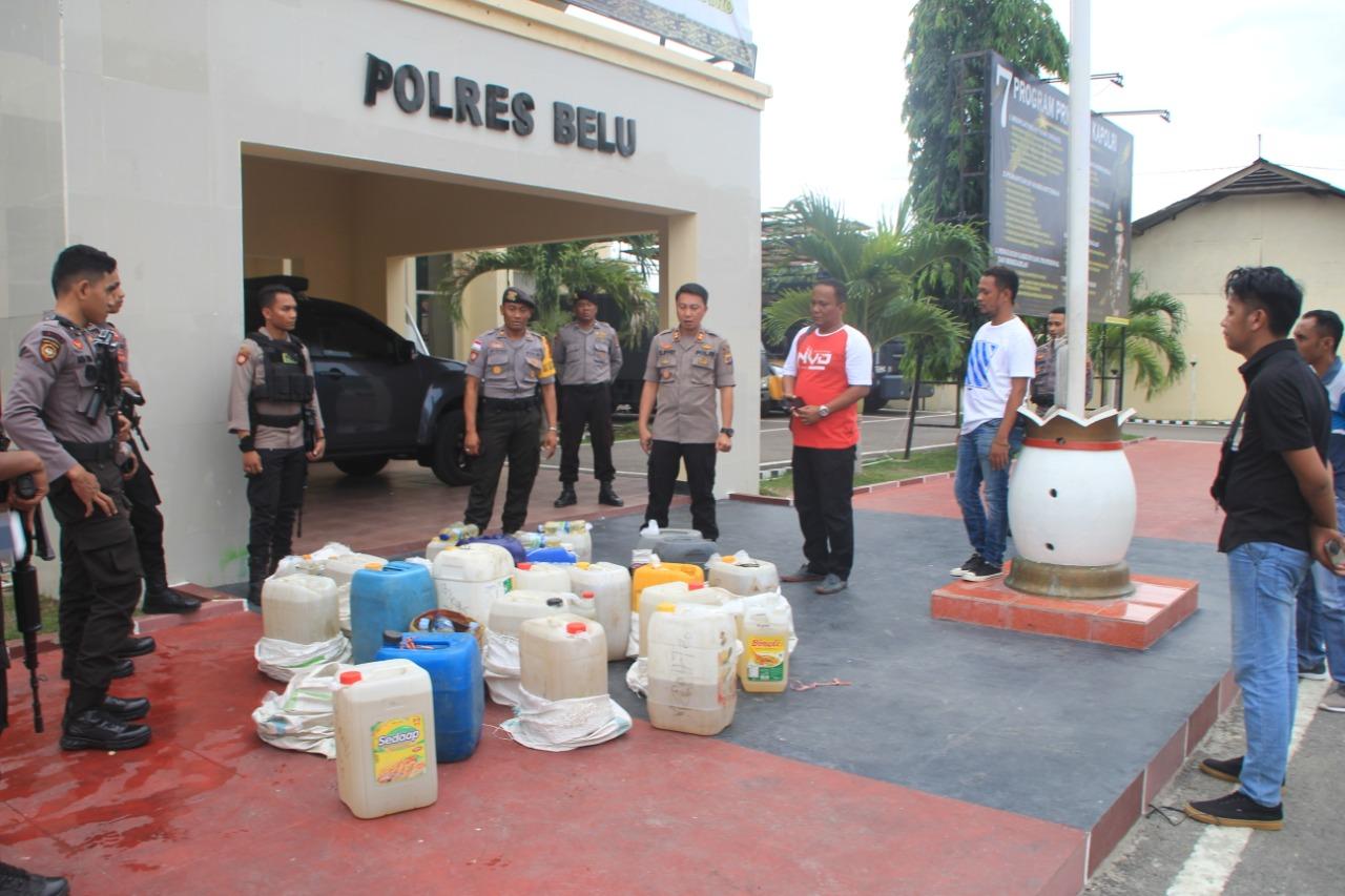 KRYD Jelang Tutup Tahun 2019, Aparat Polres Belu Amankan Ratusan Liter Miras Tradisional