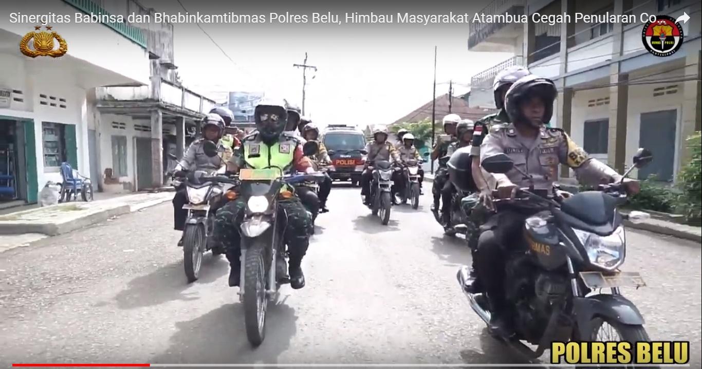 Sinergitas Polres Belu dan TNI, Turun ke Jalan Beri Imbauan Kamtibmas ke Masyarakat Bahaya Serangan