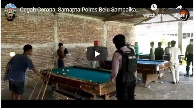 Video, Samapta Polres Belu Sampaikan Imbauan dan Bubarkan Kerumunan Warga di Tempat Bilyard